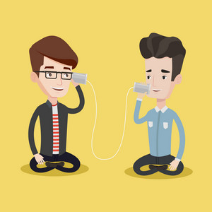 Young men discussing something funny using tin can telephone. Guy getting good message from friend on tin can phone. Friends talking through a tin phone. Vector flat design illustration. Square layout
