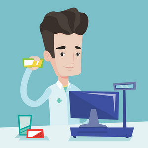 Young pharmacist in medical gown standing at the counter in the pharmacy. Pharmacist showing some medicine. Male pharmacist holding a box of pills. Vector flat design illustration. Square layout.