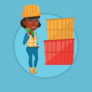 Young port worker talking on wireless radio. Port worker standing on cargo containers background. Port worker using wireless radio. Vector flat design illustration in the circle isolated on background