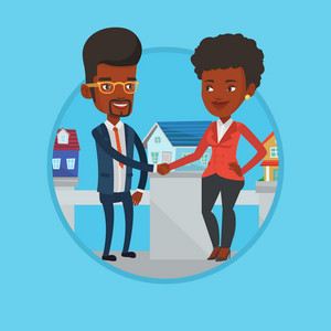 Young realtor shaking hand to customer after real estate deal in office. Conclusion of real estate deal between realtor and buyer. Vector flat design illustration in the circle isolated on background.