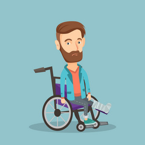 Young sad caucasian man with leg in plaster. Injured upset man sitting in wheelchair with broken leg. Hipster man with fractured leg suffering from pain. Vector flat design illustration. Square layout