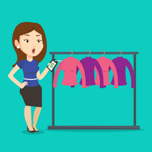 Young shopping woman shocked by price tag in clothing store. Surprized woman looking at price tag in clothing store. Amazed woman staring at price tag. Vector flat design illustration. Square layout.