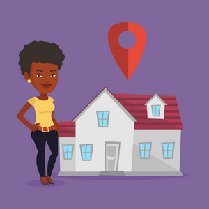 Young smiling african-american real estate agent standing on the background of map pointer above the house. Happy real estate agent offering the house. Vector flat design illustration. Square layout.