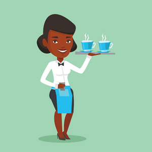 Young smiling african-american waitress holding tray with cups of tea or coffee. Friendly waitress standing with tray with cups of hot flavoured coffee. Vector flat design illustration. Square layout.