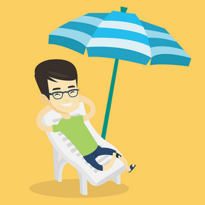 Young smiling asian man sitting in a beach chair. Man resting on holiday while sitting under umbrella on a beach chair. Happy man relaxing on beach. Vector flat design illustration. Square layout.