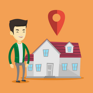 Young smiling asian real estate agent standing on the background of map pointer above the house. Cheerful real estate agent offering the house. Vector flat design illustration. Square layout.