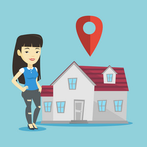 Young smiling asian real estate agent standing on the background of map pointer above the house. Happy female real estate agent offering the house. Vector flat design illustration. Square layout.