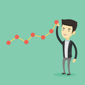 Young smiling business man in suit looking at chart going up. Businessman lifting a business chart. Asian businessman pulling up a business chart. Vector flat design illustration. Square layout.