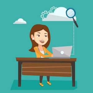Young smiling business woman working on laptop under cloud. Caucasian business woman using cloud computing technologies. Cloud computing concept. Vector flat design illustration. Square layout.