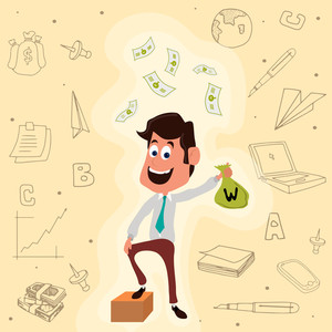 Young smiling Businessman holding money bag on creative infographic elements background for Business concept.