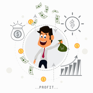 Young smiling Businessman holding money bag with infographic elements for Business Profit concept.