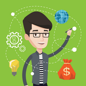 Young smiling man writing on a virtual screen. Cheerful businessman drawing a cloud computing diagram on a virtual screen. Cloud computing concept. Vector flat design illustration. Square layout.