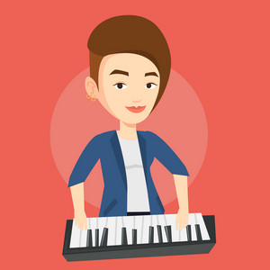 Young smiling musician playing piano. Pianist playing upright piano. Caucasian female pianist playing on synthesizer. Vector flat design illustration. Square layout.