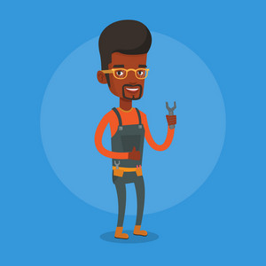 Young smiling repairman standing with a spanner in hand. An african-american repairman giving thumb up. Repairman in overalls holding a spanner. Vector flat design illustration. Square layout.