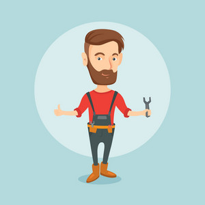 Young smiling repairman standing with a spanner in hand. Caucasian hipster repairman giving thumb up. Repairman in overalls holding a spanner. Vector flat design illustration. Square layout.
