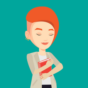 Young smiling student hugging her book. Happy joyful student likes read books. Peaceful student with eyes closed holding a book. Concept of education. Vector flat design illustration. Square layout.