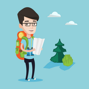 Young smiling traveler with backpack and binoculars looking at map. Young cheerful man hiking. Happy backpacker searching right direction on a map. Vector flat design illustration. Square layout.