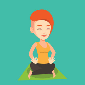 Young sportswoman meditating in yoga lotus pose. Caucasian sportswoman relaxing in the yoga lotus position. Sporty woman doing yoga on the mat. Vector flat design illustration. Square layout.