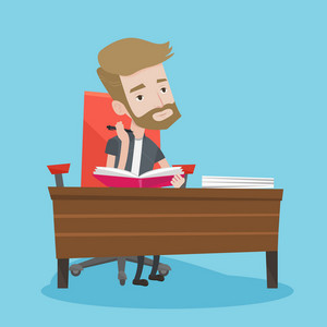 Young student sitting at the table and thinking. Pensive student writing in a notebook. A hipster man with the beard studying. Concept of education. Vector flat design illustration. Square layout.