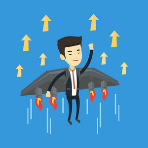 Young successful business man flying on the business start up rocket. Asian happy business man flying with a jet backpack. Business start up concept. Vector flat design illustration. Square layout.