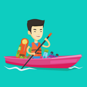 Young traveling man riding in a kayak on the river with skull in hands and some tourist equipment behind him. Cheerful asian man traveling by kayak. Vector flat design illustration. Square layout.