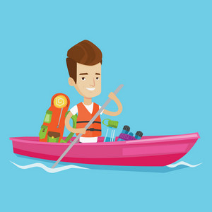 Young traveling man riding in a kayak on the river with skull in hands and some tourist equipment behind him. Cheerful caucasian man traveling by kayak. Vector flat design illustration. Square layout.