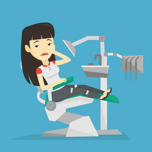 Young upset asian patient visiting dentist because of toothache. Sad patient suffering from toothache. Sorrowful woman having a strong toothache. Vector flat design illustration. Square layout.