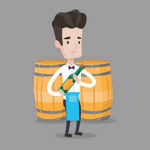 Young waiter holding a bottle of alcohol. Waiter with bottle in hands standing on the background of wine barrels. Sommelier presenting a wine bottle. Vector flat design illustration. Square layout.