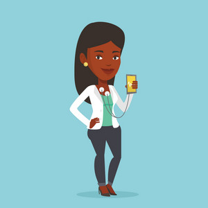 Young woman checking her blood pressure with smartphone application. Woman taking care of her health and measuring heart rate pulse with smartphone app. Vector flat design illustration. Square layout.