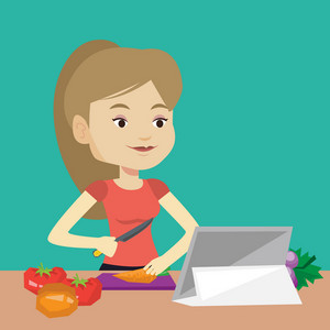 Young woman cutting vegetables for salad. Caucasian woman following recipe for vegetables salad on digital tablet. Woman cooking healthy vegetable salad. Vector flat design illustration. Square layout
