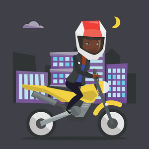 Young woman in helmet riding a motorcycle on the background of night city. Woman driving a motorcycle on city road. Woman riding a motorcycle at night. Vector flat design illustration. Square layout.