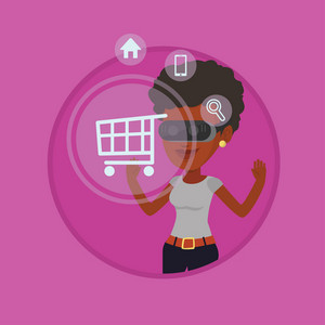 Young woman in vr headset looking at shopping cart icon. Woman doing online shopping. Virtual reality and shopping online concept. Vector flat design illustration in the circle isolated on background.