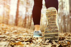 Young woman jogging in the forest in autumn at sunset