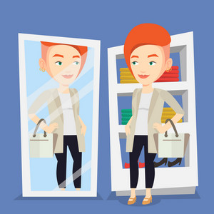 Young woman looking at herself in a mirror at dressing room. Young girl trying on blouse in dressing room. Happy woman choosing clothes in dressing room. Vector flat design illustration. Square layout