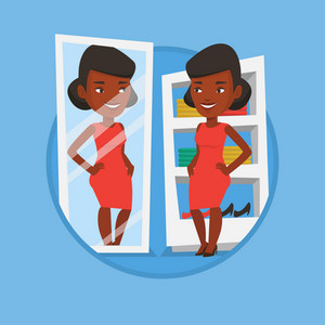Young woman looking in a mirror at dressing room. Girl trying on blouse in dressing room. Woman choosing clothes in dressing room. Vector flat design illustration in the circle isolated on background.