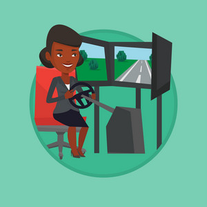 Young woman playing video game with gaming wheel. Gamer driving autosimulator in game room. Woman playing car racing video game. Vector flat design illustration in the circle isolated on background.