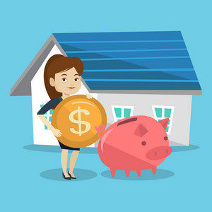 Young woman putting dollar coin in piggy bank. Cheerful woman standing on the background of house. Concept of saving and investing money in real estate. Vector flat design illustration. Square layout.