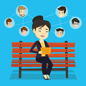 Young woman sitting on a bench and using a tablet computer with network avatar icons above. Woman surfing in the social network. Social network concept. Vector flat design illustration. Square layout.