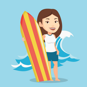 Young woman standing with a surfboard on the beach. Professional surfer with a surf board at the beach. Surfer standing on the background of sea wave. Vector flat design illustration. Square layout.
