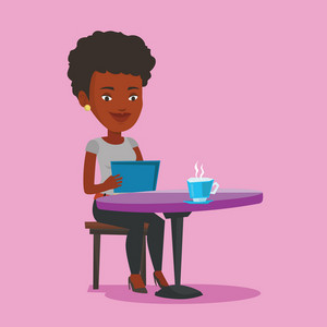 Young woman using a tablet computer in a cafe. Woman surfing in the social network. Vector flat design illustration. Square layout.
