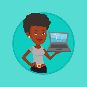 Young woman using laptop for online shopping. Woman holding laptop with shopping trolley on a screen. Woman doing online shopping. Vector flat design illustration in the circle isolated on background.
