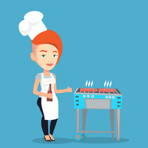 Young woman with bottle in hand cooking steak on gas barbecue grill and giving thumb up. Caucasian woman cooking steak on the barbecue grill outdoors. Vector flat design illustration. Square layout.