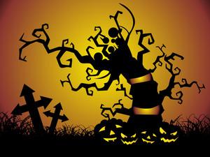 Graveyard Night And Pumpkin Under The Tree