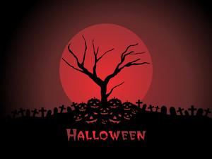 Graveyard Night Scene With Full Moon