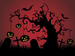 Graveyard Scene Vector Illustration