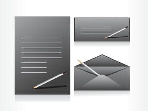 Gray Envelope With Pencile And Letter
