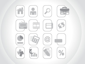 Gray Icons Set For Website