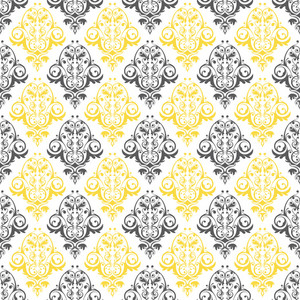 Grey, Yellow, And White Decorative Pattern