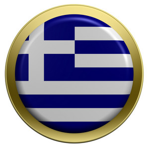 Greece Flag On The Round Button Isolated On White.