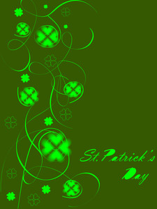 Green Abstract Background Design With Clovers.